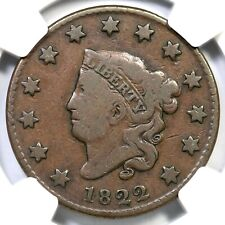 1822 N-9 R-5- NGC Fine Details Matron or Coronet Head Large Cent Coin 1c