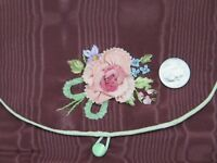 """Lovely Vintage Rayon Faille Case~Silk Rose Ribbonwork c1928-1930s~L-8""""X W-5.5"""""""