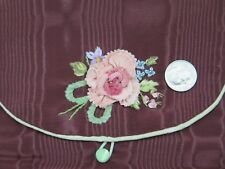 """Lovely Vintage Rayon Faille Case~Silk Rose Ribbonwork c1928-1930s~15""""LX5""""W"""