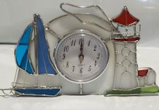 Lighthouse and Boat STAINED GLASS CLOCK [9018-19]