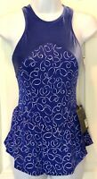 GK PURPLE HALTER ADULT X-SMALL VELVET MATTE TRICOT PRINT FIGURE SKATE DRESS AXS