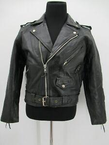 P8456 VTG Men's Motorcycle Biker Brandon Racer Leather Jacket Size 40