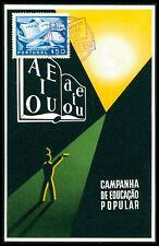 Portugal MK 1954 populaire projet Éducatif Livre Book CARTE MAXIMUM CARD MC cm bg55
