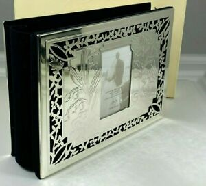"""LENOX SILVER PLATED MIRRORED FINISH """"OUR WEDDING"""" 4"""" x 6"""" PHOTO ALBUM HOLDS 80"""