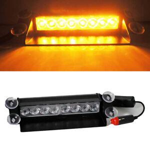 8 LED Amber Yellow Strobe Light Car Dash Emergency 3 Flashing Modes Lamp