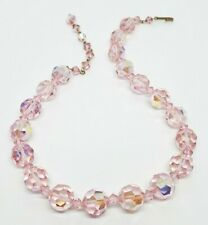 "Lovely Vintage Rose Pink Aurora Borealis Glass Gem Bead 16"" Strand Necklace"