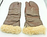 Original U.S. WWII Army Air Force A-9A Leather Flying Mitten Gloves MEDIUM