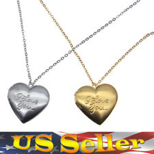 """Stainless Steel """"I Love You"""" Heart Locket Photo Pendant Mom Lovers Necklace Gift"""