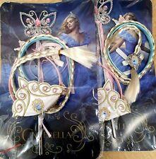 2pack Princess Cinderella Kids Cos play Ponytail Hair, Tiara Crown Magic Wand!