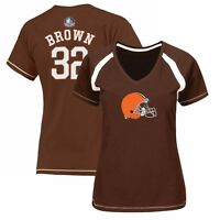 "Jim Brown Cleveland Brown ""Eligible Receiver"" Raglan Jersey Brown T-Shirt Women"