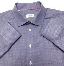 E96 ETON Blue Pink Plaid Button Front Dress Shirt Mens 43/17 100% Cotton