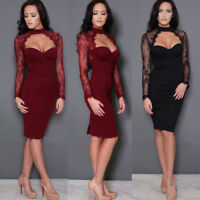 Womens Evening Cocktail Dresses Lace Long Sleeve Midi Skirt Bodycon Clubwear