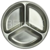 Stainless Steel 3 Compartment Vegetable Sauce Tray Dish Indian Serving Plate