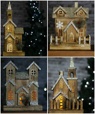 Pre-Lit Glitter Wooden Christmas Ornamental Church House Decoration Xmas Rustic