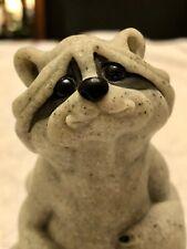 "Ragoo Raccoon Quarry Critters 45608 2002 Second Nature Design Figurine Stone 5"""