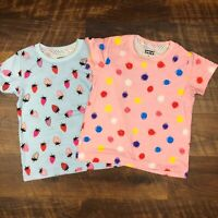 NEW Dot Dot Smile HELLO TOSHA Pink Polka Dot Blue Strawberry LOT OF 2 Shirts
