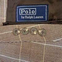 Polo Ralph Lauren Wool Blend Blazer Vintage Made in USA Brown Plaid Men's 40R