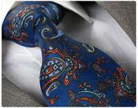 PETROL BLUE PAISLEY SILK TIE (Italian Designer Milano Exclusive)