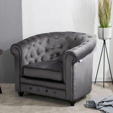 Velvet Fabric Grey Chesterfield Sofa Button Tub Armchair Occasional Accent Chair