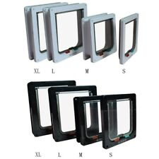 4 Way Pet Cat Magnetic Lock Lockable Safe Flap Entry & Exit Door Frame S/M/L/Xl