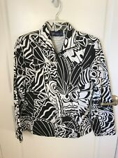 SUSAN GRAVER BLACK & WHITE GRAPHIC PRINT JACKET SIZE S SMALL / MEDIUM