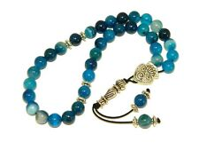 001BA - Prayer Worry Beads Tasbih 8mm Blue Agate Gemstone Beads Handmade