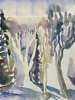 Prof Dr Alfred Behle 1935-97 Frühlingstag mit Bäumen im Sonnenlicht Expressiv