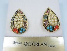 Swarovski Crystals and Sandstones 1134 D'Orlan Gold Plated Pierced Earrings with