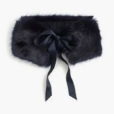 NWT $59.50 J Crew Faux Fur Navy Lined Stole with Ribbon Tie Scarf Item H3471