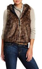 Jolt Short Brown Hooded Faux Fur Vest Juniors Size XL