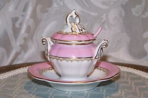 """Vintage Jam Condiment 4 7/8"""" Tureen with Spoon, Retro Pink & Gold"""