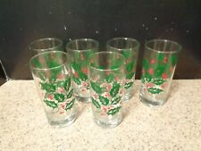 Set of 6 Vintage Christmas Holly & Berry 8 oz. Drinking Glasses VGUC