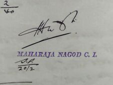 AOP India Nagod State 4a vermilion stamp paper SIGNED BY THE Maharaja
