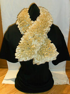 Ladies Hand Knitted Tango Glitz Scarf Gold Approx 90cm Long