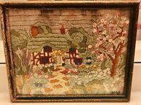Antique/Folk Art Crewel Yarn Art Cottage/Garden--Late 1800's—Original Wood Frame