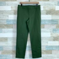 Ann Taylor Chino Ankle Pants Green High Rise Straight Leg Stretch Work Womens 10