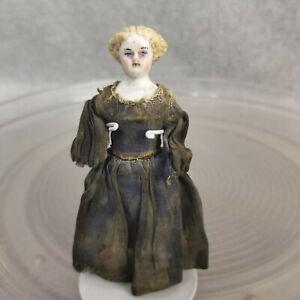 """3-1/2"""" antique German bisque head miniature Parian Dollhouse Doll for Repair TLC"""