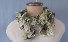 """New Hand Crochet Shades of Green Wide Edging Twisted Ruffled Scarf 36"""" Long"""