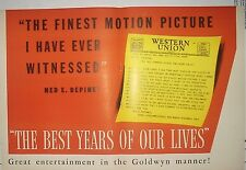 """1946 Rare """"The Best Years Of Our Lives"""" Boxoffice Promo Ad"""