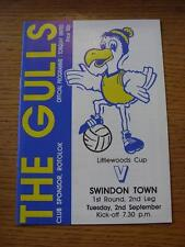 02/09/1986 Torquay United v Swindon Town [Football League Cup] . Item In very go