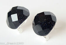 Fashion Lady's Faceted Blue Goldstone 925 Sterling Silver Stud Earrings Leverbac