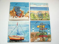 4 maritime Bilder, Strandkorb, Boot, Fahrrad, Seesterne, Strand, Sylt, Föhr,