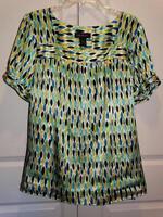 Women's LANE BRYANT Blue Green Yellow Short Sleeve Shirt Top Plus Size 18/20