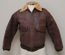 VIntage 1950s Mens 38R/M Brown Horse Hide Jacket with Faux Fur Collar
