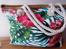 Rope Handled Canvas Beach Tote Shopping Bag - Lined Zip Closing Tropical Design