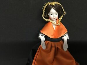 """Antique Porcelain Doll 7"""" Tall Chinese Dress Painted Face Dark Hair Good Con"""