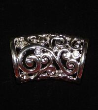 NEW WOMENS FILIGREE OBLONG SILVER FASHION SCARF RING/HOLDER/SLIDER W/RHINESTONES