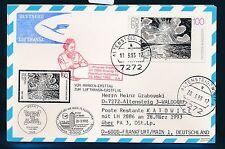 66090) LH FF Frankfurt - Katowice Polen 28.3.93, Karte FDC Mi 1657 Kunst