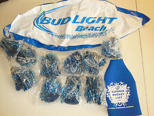 Bud Light Mardi Gras Valentine Party Beads Necklace Blue 10 Beach Ball Koozie