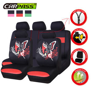 Universal Black Red Car Seat Covers China Face Breathable Cloth fit 40/60 50/50